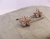 Ceramic Pottery Ivy Leaf Hair Clip Set, Hair Grip Set, Bobby Pin Set, Elven, Faery, Woodland Accessories, Avalon