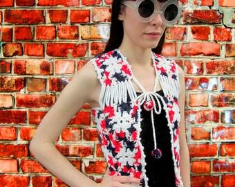 Crochet Woven Chunky Knit Red White Blue Pom Pom Vest