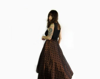 Vintage Brown Taffeta Polka Dot Circle Skirt . Size Medium