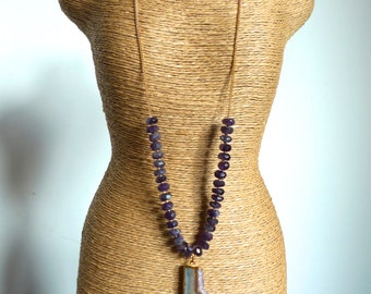 Handknotted Faceted Amethyst Rondelle beads with Amethyst Slice Pendant Necklace