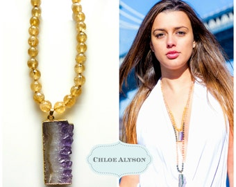 Handknotted Citrine Beads with Amethyst Slice Pendant on 18K Gold Filled Chain