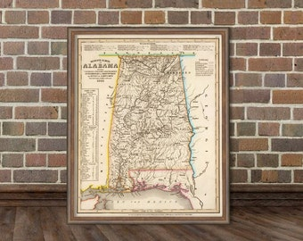 Alabama  map -  Antique map restored - Vintage map of Alabama giclee reproduction - A wonderful map for wall decoration