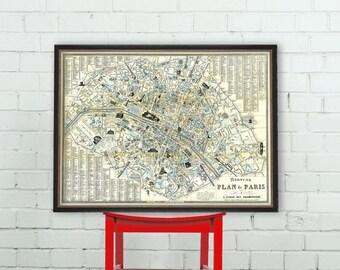 """Paris map - Old map of Paris print - Fine reproduction - """"Nouveau Plan de Paris a l'usage des promeneurs"""""""