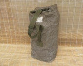 Vintage Army Khaki Green Canvas Duffel Bag With Back Strap Backpack