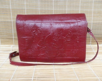 Vintage Lady's Dark Red Leather Shoulder Strap Bag Purse