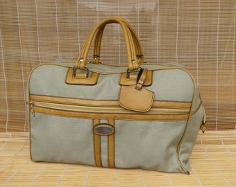 Vintage Medium Size Beige Canvas Weekend Travel Bag