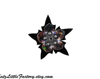 Medium Spiky Iridescent Pewter Rainbow Mirror and Black Flower PVC Hair Clip Black Studs