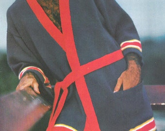 Instant Download PDF Vintage Seventies Men's Robe Knitting Pattern