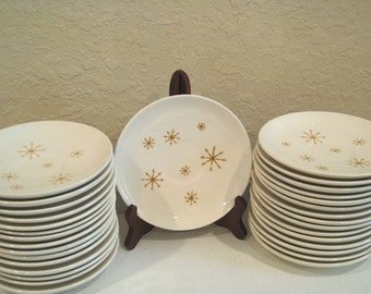 Vintage Star Glow Small Plate-Saucer - 1960s - Gold Atomic Starburst Plates - Large Quantity