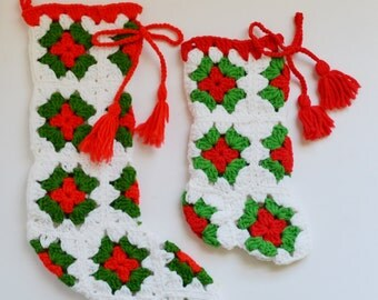 Vintage Crocheted Christmas Stocking Set of 2 Christmas Stockings Holiday Décor Red Green and White Christmas Stocking