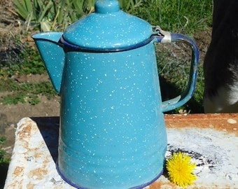 Porcelain Enamel Teapot/Coffee Pot/Pitcher Blue Speckled