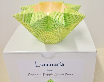 Small Luminary - Hand-painted, Origami-folded Paste Paper - Spring Green