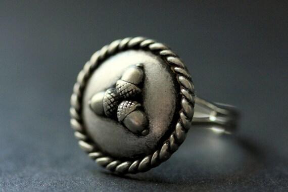 Anneau de gland anneau de gland de bouton bague en argent - Anneau de gland ...
