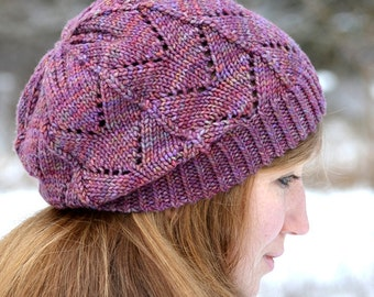 Hat Knitting PATTERN PDF, Knit Hat Pattern, Slouch Hat Knitting Pattern, Slouchy Hat Pattern - Frosted Primrose Hat