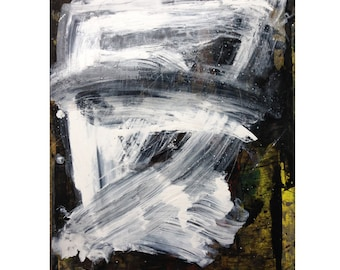 Abstract large painting oil on paper, drawing, white, black, expressionist
