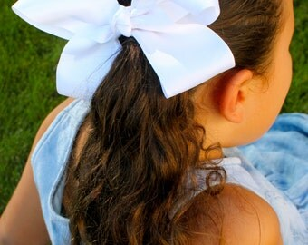 Girls White Hair Bow