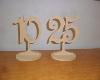 "Wooden Table Numbers 6"" Tall 4"" numbers with Round base Set 1-30 MDF Wedding DIY"