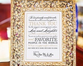"""Printable Wedding Thank You Note for Guests, INSTANT DOWNLOAD Calligraphy, Black, Gold, 5 x 7"""""""