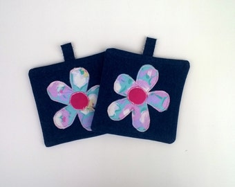 Blue and Pink Flowers Denim Upcycled Pot Holders, Hot Mat, Trivet 100% Cotton Fabric