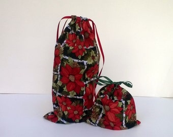 2 Bright Red Poinsettia Gift Bags Christmas, Upcycled Fabric, Reusable