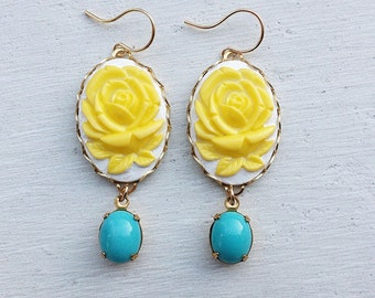 Yellow Earrings/Yellow Rose Earrings/Flower Earrings/Bridesmaid Earrings/Turquoise Earrings/Turquoise and Yellow Earrings/Mother's Day Gifts