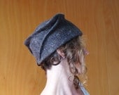 Brown sculpted hat / barret, felted wool, designer hat, funky hat, eco friendly accessories, eco friendly gift