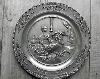 WMF pewter plate with Rembrandt's  Selbstbilnis mit Saskia painting in relief