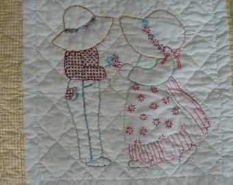 Embroidered Sunbonnet Sue and Overall Bill Quilt- Yellow