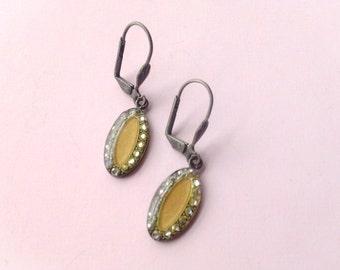 Celluloid Rhinestone Earrings  Brides Wedding Jewelry Vintage Fashion Accessory