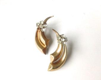 Art Deco Brass & Rhinestone Dagger Earrings Antique Rare Fashion Jewelry
