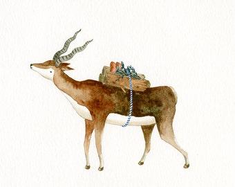 Reindeer Art Print, Watercolor Painting, Deer, Animal Illustration, Original, Rustic, Folky, Unframed