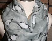 Penguin Infinity Scarf-Arctic Penguin Grey Circle Loop Scarf  Chunky Infinity Scarf-Womens Accessory-Cute Seasonal Scarf