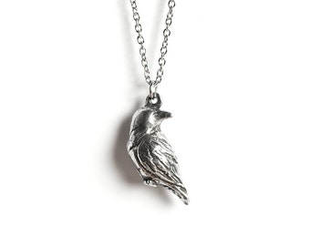 Raven Necklace, Raven Jewelry, September Birthday, October Birthday, Libra, Raven Totem, Libra Jewelry, Poe, Pagan, Wiccan, Bird Necklace