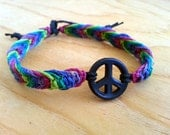 Hemp Peace Anklet - Colourful Natural Hemp Jewelry - Tie on Anklet - Bohemian Summer Jewelry - Boho Hemp Anklet  - Hemp Jewelry
