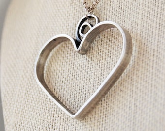 Large Heart Necklace - Sterling Silver Necklace - Heart Pendant - Wedding Jewelry - Gift For Her - Custom Made For You
