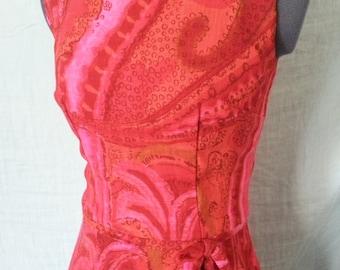 Circa 1960's Red Pink Orange Retro Dress by Neusteters