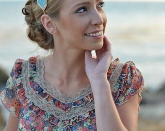 Womens Felt Headband - Felt Flower - Aqua Cream Khaki Beige - Beach Theme - Wedding Hair Accessory - Teen Girls - Leaf Headband - Grecian