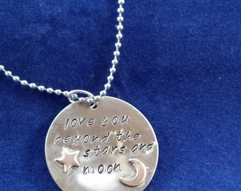 love you beyond the stars and moon - handstamped necklace