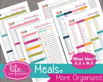 Meals. More Organized. -  Mini 5.5 x 8.5 - Meal Planning, Grocery List, Pantry/Refrigerator/Freezer Inventory and Recipe Cards Digital File