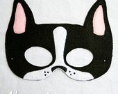 Boston Terrier Mask Embroidery Design, dog mask, machine embroidery, ITH mask, in the hoop mask, embroidered mask, 5x7, 6x10, Boston Terrier