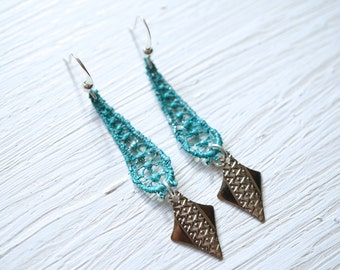 Teal Lace Earrings with Silver Dangle
