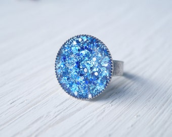 Blue Glitter and Resin Statement Ring