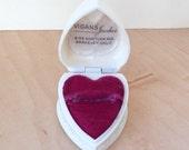 Valentine Red Heart Art Deco Ring Box Celluloid Plastic jewelry Wedding Display Velvet Vintage Berkeley California CA