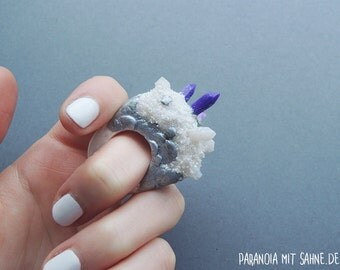 Mystic Purple and White Crystal Ring with Silver and Glitter