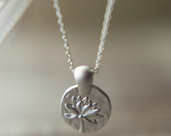 Lotus Purity Necklace, Available in Matte Silver or Gold