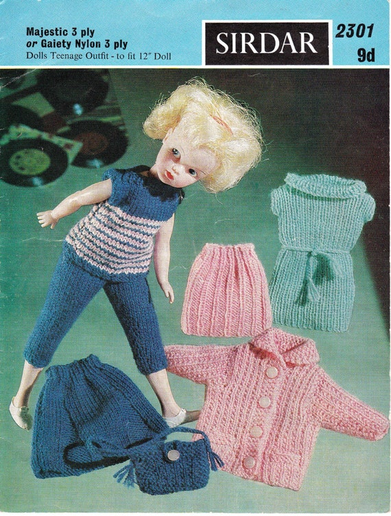 1960s Knitting Pattern For A Teenage Sindybarbie12 Inch Doll