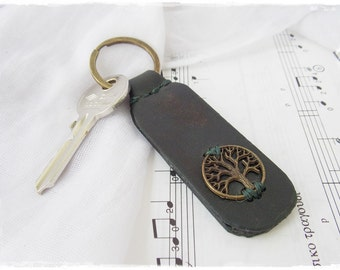 Celtic Leather Keychain, Tree Of Life Leather Key-Chain, Nordic Key-Chain, Pagan Leather Key Ring, Woodland Key Fob, Men's Leather Keychain