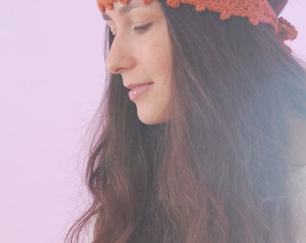 Pumpkin-colored knits, Chunky headband, orange wool headband, crochet ear warmer,  autumn colors headband