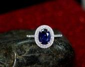 Custom for Kristina Blue Sapphire Engagement Ring Oval Halo Diamond Urania Double Plain Shank No Diamonds 2ct 8x6mm Custom Size 10k