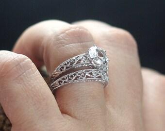 White Sapphire Engagement Ring Antique Style Filigree Set Polymnia Round Cut 1ct 6mm Custom Size White-Yellow-Rose Gold-10k-14k-18k-Platinum